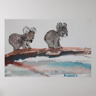 Aquarelle de deux koala affiche