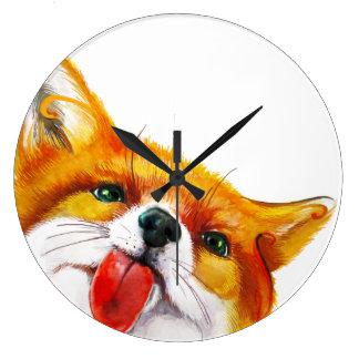 Aquarelle de Fox Grande Horloge Ronde