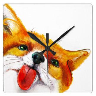 Aquarelle de Fox Horloge Carrée
