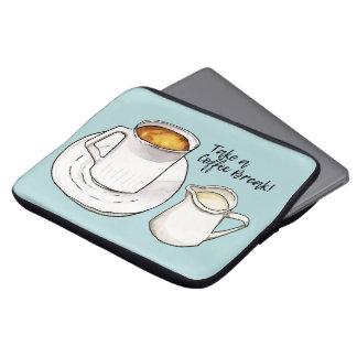Aquarelle de pause-café et illustration d'encre trousse pour ordinateur portable