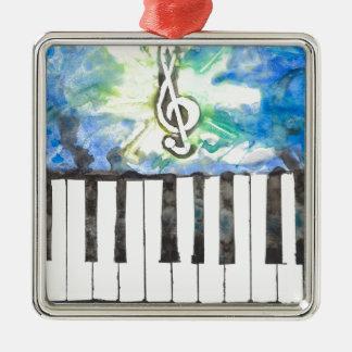Aquarelle de piano ornement carré argenté