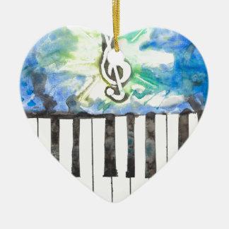Aquarelle de piano ornement cœur en céramique