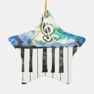 Aquarelle de piano ornement étoile en céramique