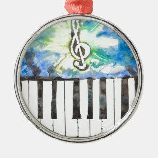 Aquarelle de piano ornement rond argenté