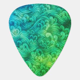 Aquarelle de raz-de-marée d'océan de tsunami de onglet de guitare