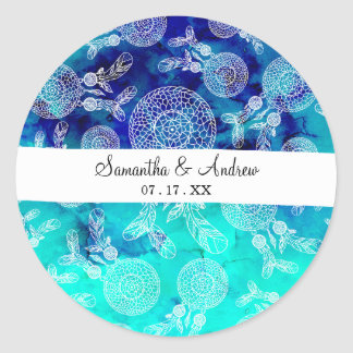 Aquarelle de turquoise de plumes de dreamcatchers sticker rond