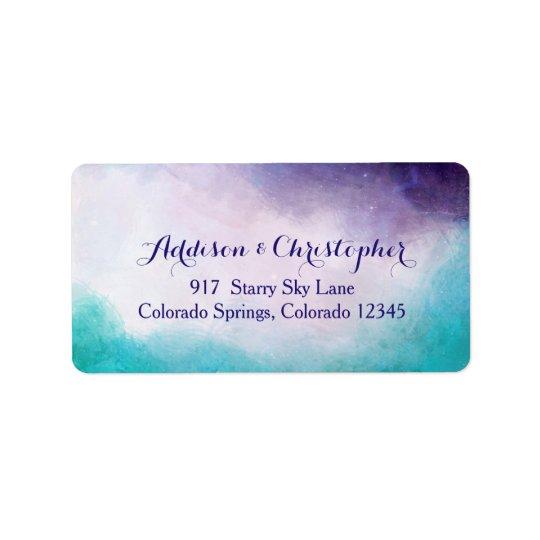 Aquarelle de violette et de turquoise étiquette d'adresse