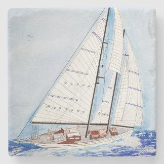 aquarelle de voilier dessous-de-verre en pierre