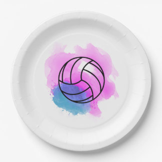 Aquarelle de volleyball assiettes en papier