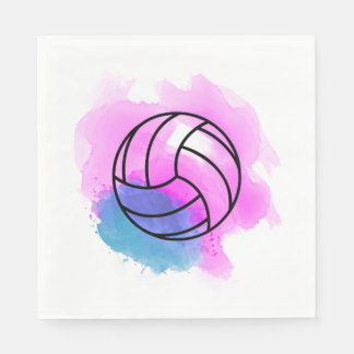 Aquarelle de volleyball serviettes jetables