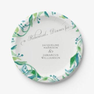 Aquarelle d'olive de feuille de laurier de dîner assiettes en papier