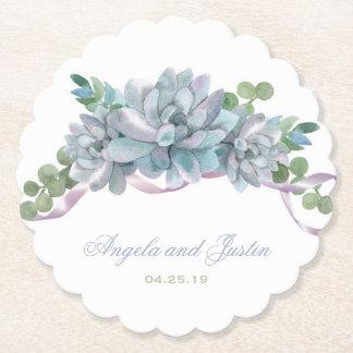 Aquarelle Echeveria avec le ruban pourpre Dessous-de-verre En Papier
