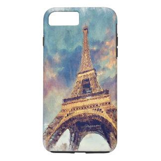 Aquarelle en pastel mignonne de Tour Eiffel chic Coque iPhone 7 Plus