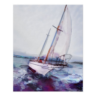 Aquarelle et encre simples de voilier de poster