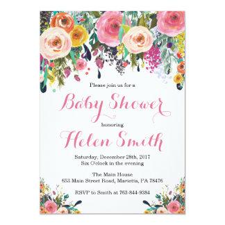 Aquarelle florale de carte d'invitation de baby