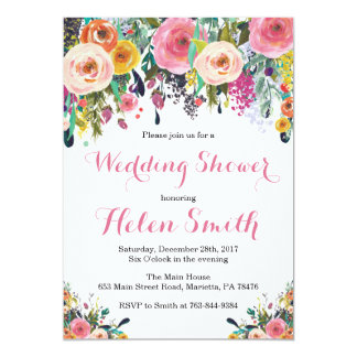 Aquarelle florale de carte d'invitation de wedding