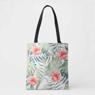 Aquarelle florale de ketmie tropicale de feuille tote bag