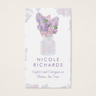 Aquarelle florale de maçon de bouquet lilas de pot cartes de visite