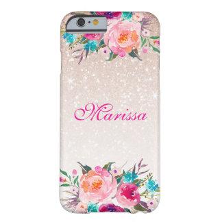 Aquarelle florale d'Ombre de scintillement rose Coque iPhone 6 Barely There