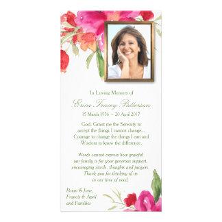 Aquarelle florale et carte de remerciements de photocarte