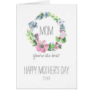 Aquarelle florale et jour de mère du papillon | cartes de vœux