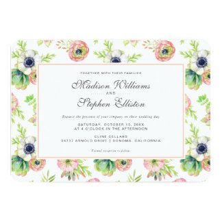 Aquarelle florale et Succulents - mariage Carton D'invitation 12,7 Cm X 17,78 Cm