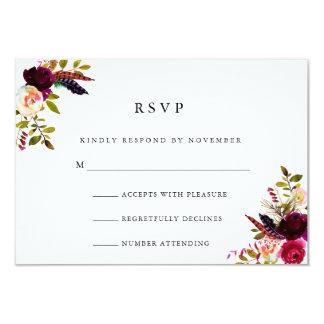 Aquarelle florale RSVP de Bourgogne Carton D'invitation 8,89 Cm X 12,70 Cm