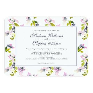 Aquarelle florale sensible - mariage carton d'invitation  12,7 cm x 17,78 cm
