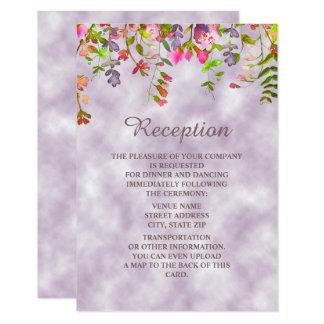 Aquarelle florale sur la réception de mariage de carton d'invitation 8,89 cm x 12,70 cm