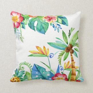 Aquarelle florale tropicale coussin décoratif