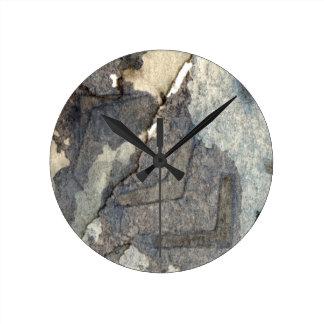 aquarelle gris-bleue 2 d'arrière - plan horloge ronde