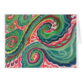 Aquarelle lunatique : Rose et vert clair Carte De Vœux