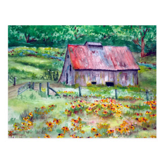 Aquarelle Noir-Eyed de grange de fleur sauvage de Carte Postale