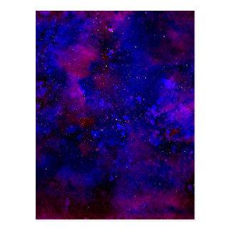 Aquarelle noire d'encre d'univers bleu pourpre et carte postale