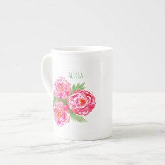 Aquarelle nommée faite sur commande de roses de mug