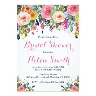 Aquarelle nuptiale florale de carte d'invitation