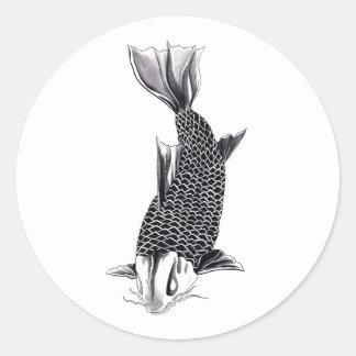 Aquarelle orientale fraîche de poissons de carpe adhésif rond