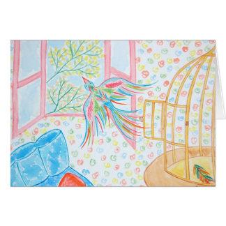"""Aquarelle """"ouvrez la cage aux oiseaux"""" carte de vœux"""