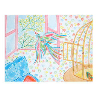 """Aquarelle """"ouvrez la cage aux oiseaux"""" carte postale"""
