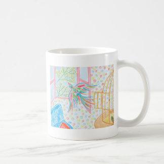 """Aquarelle """"ouvrez la cage aux oiseaux"""" mug"""