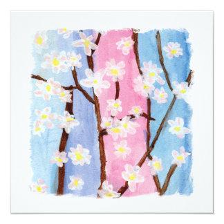Aquarelle peignant des fleurs de Sakura Carton D'invitation 13,33 Cm