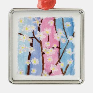 Aquarelle peignant des fleurs de Sakura Ornement Carré Argenté