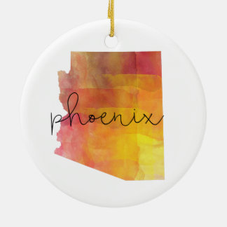 Aquarelle Phoenix Arizona Ornement Rond En Céramique