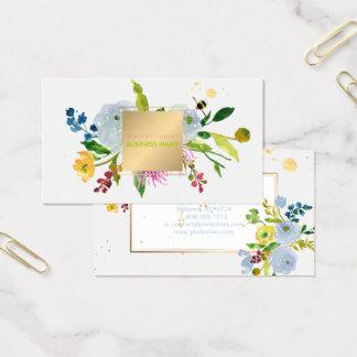 Aquarelle/ranunculus/rayures floraux de PixDezines Cartes De Visite