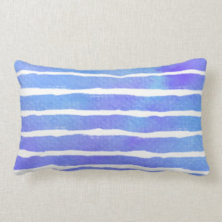 Aquarelle rayée bleue multi de Purp - tous les Coussin Rectangle