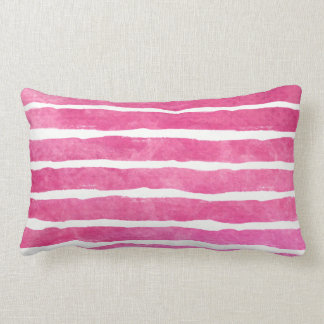 Aquarelle rayée rose foncée - tous les tissus L Coussin Rectangle