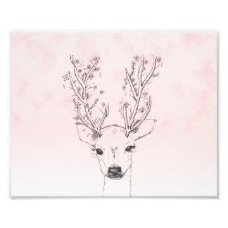 Aquarelle rose d'andouillers floraux tirés par la photographie d'art