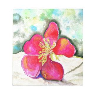Aquarelle rose de fleur de mystère bloc-note