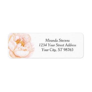Aquarelle rose de pivoine florale étiquettes d'adresse retour