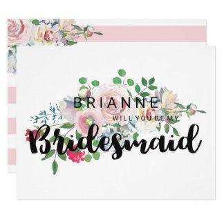 Aquarelle rose de rougissement vous serez ma carton d'invitation 10,79 cm x 13,97 cm